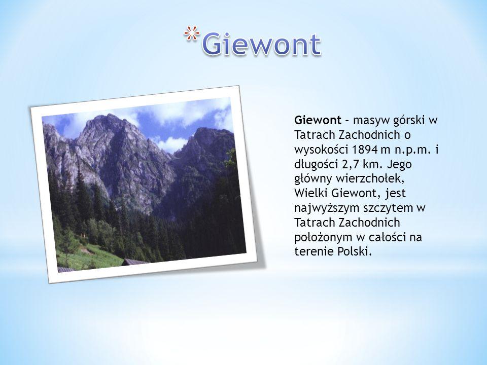 Giewont – masyw górski w Tatrach Zachodnich o wysokości 1894 m n.p.m. i długości 2,7 km. Jego główny wierzchołek, Wielki Giewont, jest najwyższym szcz