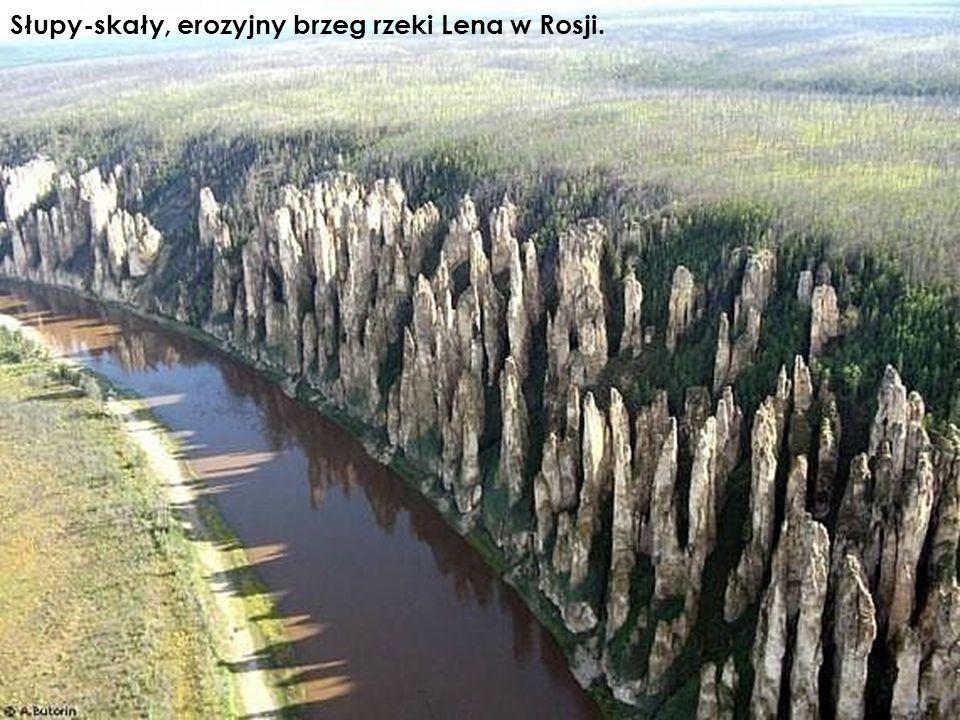 Słupy-skały, erozyjny brzeg rzeki Lena w Rosji.