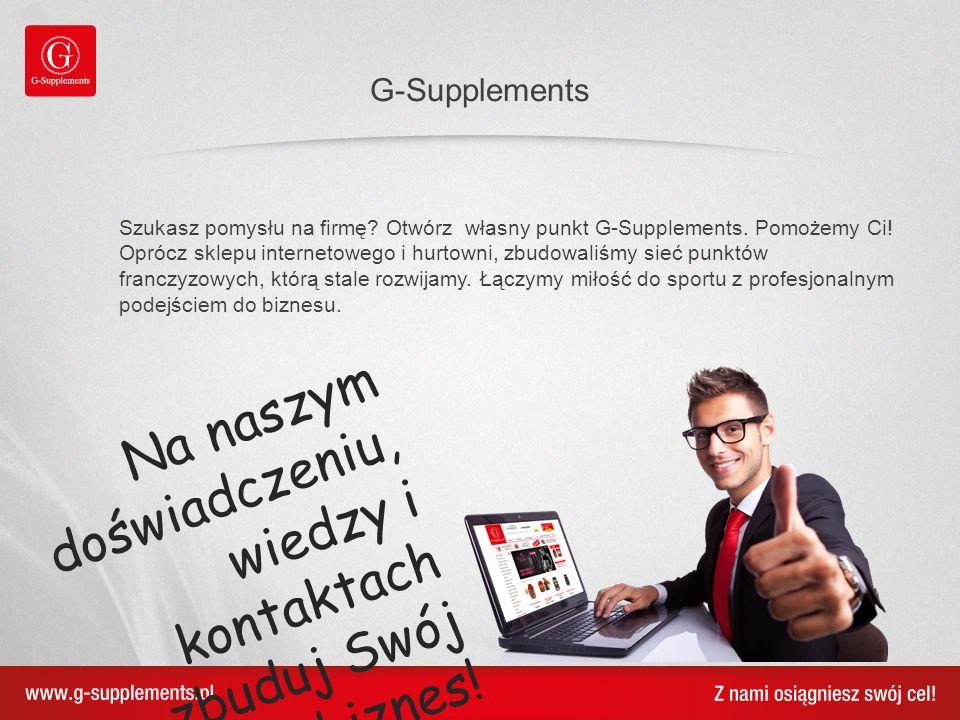 Szukasz pomysłu na firmę? Otwórz własny punkt G-Supplements. Pomożemy Ci! Oprócz sklepu internetowego i hurtowni, zbudowaliśmy sieć punktów franczyzow