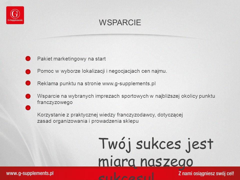 Pakiet marketingowy na start Pomoc w wyborze lokalizacji i negocjacjach cen najmu. Reklama punktu na stronie www.g-supplements.pl Wsparcie na wybranyc