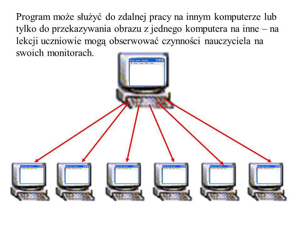 Program może służyć do zdalnej pracy na innym komputerze lub tylko do przekazywania obrazu z jednego komputera na inne – na lekcji uczniowie mogą obse