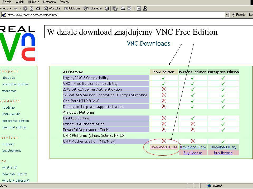 W dziale download znajdujemy VNC Free Edition