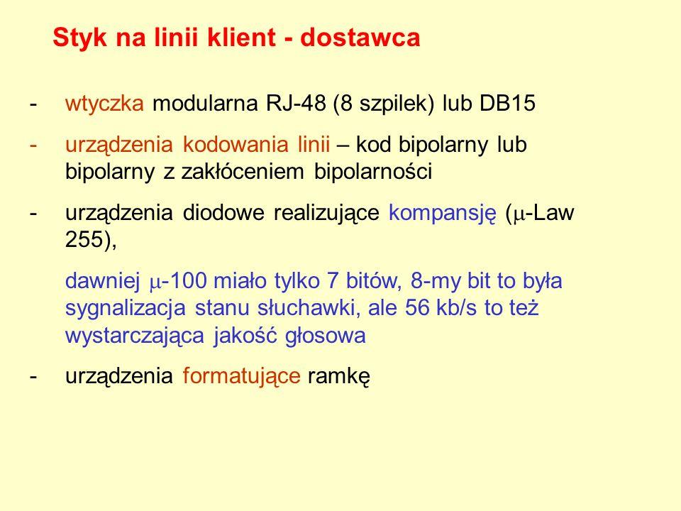 Styk na linii klient - dostawca -wtyczka modularna RJ-48 (8 szpilek) lub DB15 -urządzenia kodowania linii – kod bipolarny lub bipolarny z zakłóceniem bipolarności -urządzenia diodowe realizujące kompansję ( -Law 255), dawniej -100 miało tylko 7 bitów, 8-my bit to była sygnalizacja stanu słuchawki, ale 56 kb/s to też wystarczająca jakość głosowa -urządzenia formatujące ramkę