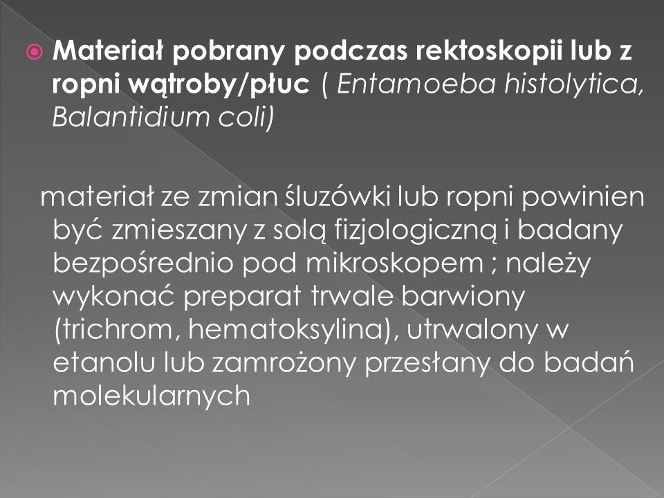 Materiał pobrany podczas rektoskopii lub z ropni wątroby/płuc ( Entamoeba histolytica, Balantidium coli) materiał ze zmian śluzówki lub ropni powinien