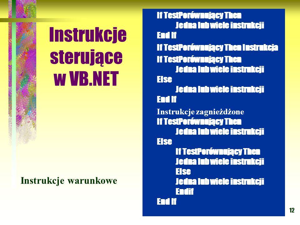 12 Instrukcje sterujące w VB.NET If TestPorównujący Then Jedna lub wiele instrukcji End If If TestPorównujący Then Instrukcja If TestPorównujący Then