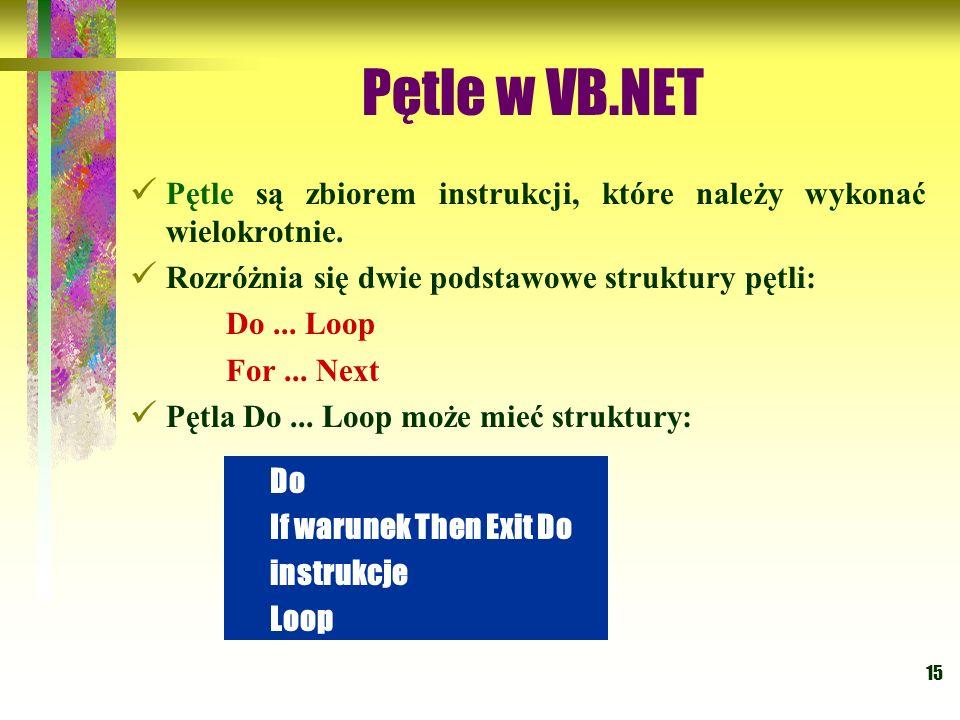15 Pętle w VB.NET Pętle są zbiorem instrukcji, które należy wykonać wielokrotnie. Rozróżnia się dwie podstawowe struktury pętli: Do... Loop For... Nex