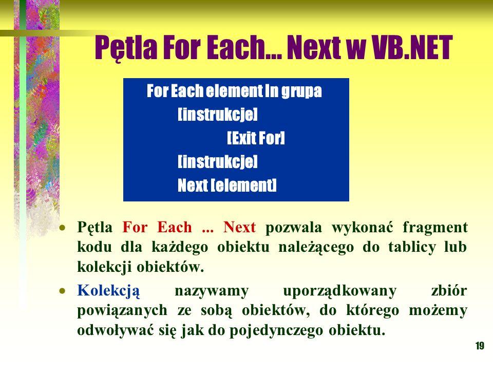 19 Pętla For Each... Next w VB.NET Pętla For Each... Next pozwala wykonać fragment kodu dla każdego obiektu należącego do tablicy lub kolekcji obiektó