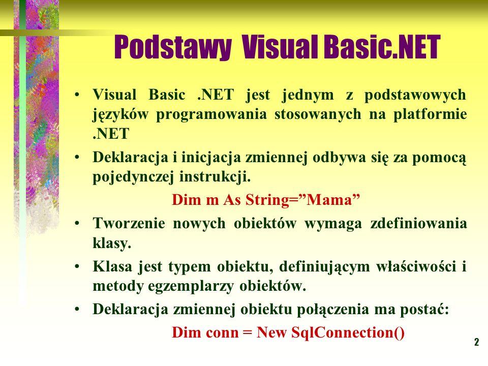2 Podstawy Visual Basic.NET Visual Basic.NET jest jednym z podstawowych języków programowania stosowanych na platformie.NET Deklaracja i inicjacja zmi