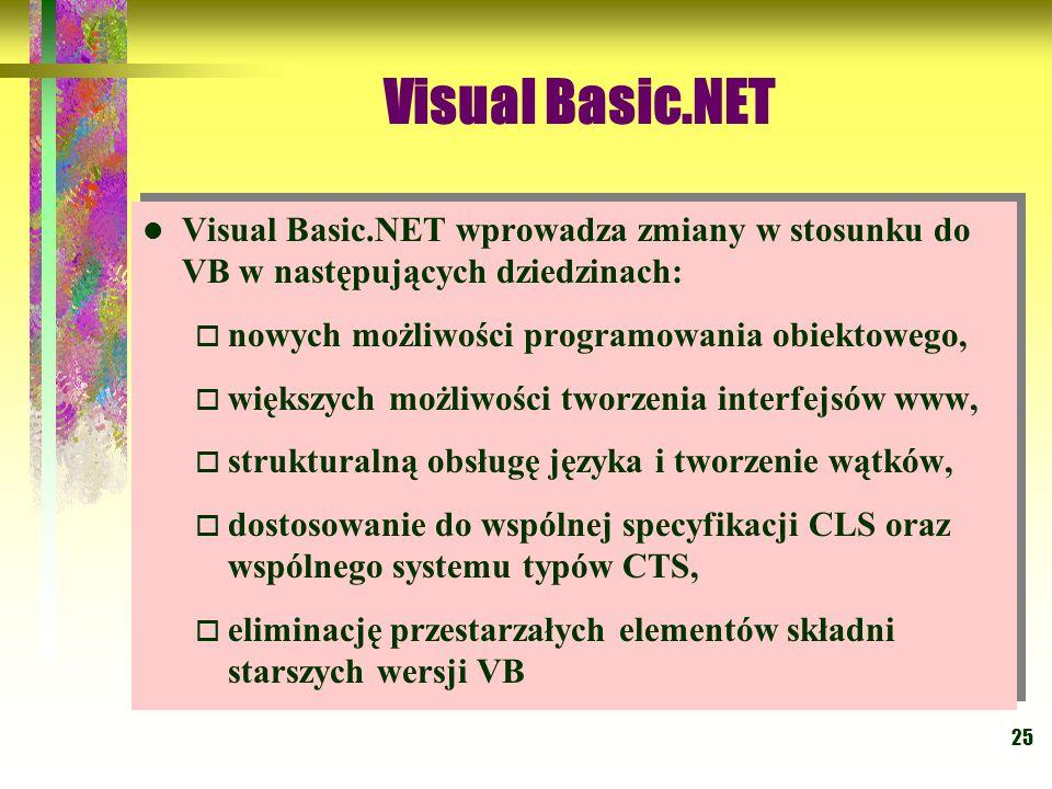 25 Visual Basic.NET Visual Basic.NET wprowadza zmiany w stosunku do VB w następujących dziedzinach: nowych możliwości programowania obiektowego, więks