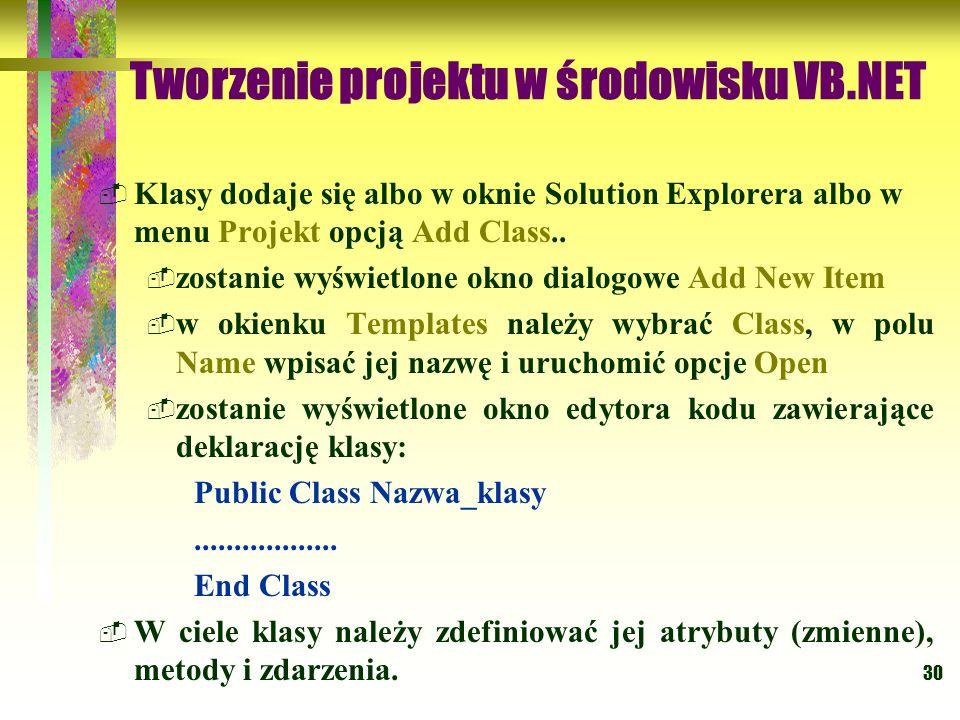 30 Tworzenie projektu w środowisku VB.NET Klasy dodaje się albo w oknie Solution Explorera albo w menu Projekt opcją Add Class.. zostanie wyświetlone