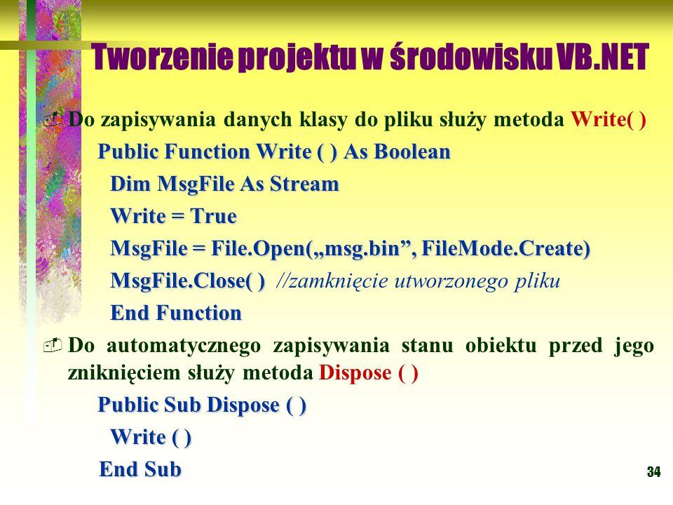 34 Tworzenie projektu w środowisku VB.NET Do zapisywania danych klasy do pliku służy metoda Write( ) Public Function Write ( ) As Boolean Dim MsgFile