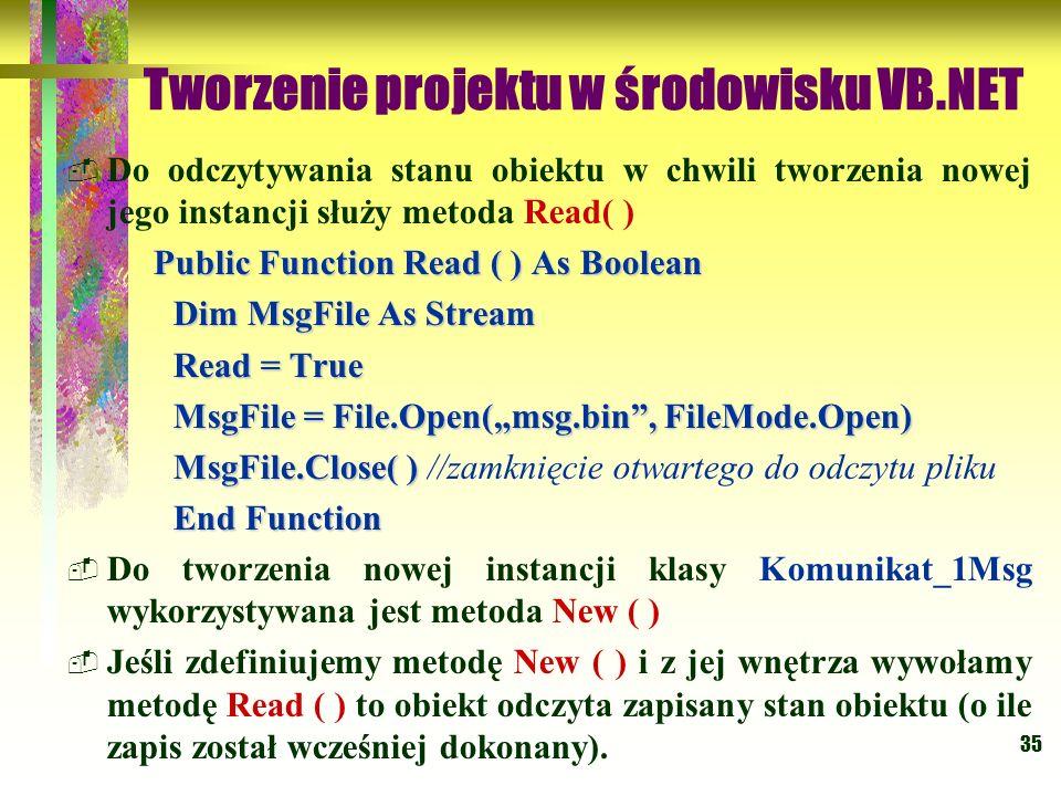35 Tworzenie projektu w środowisku VB.NET Do odczytywania stanu obiektu w chwili tworzenia nowej jego instancji służy metoda Read( ) Public Function R