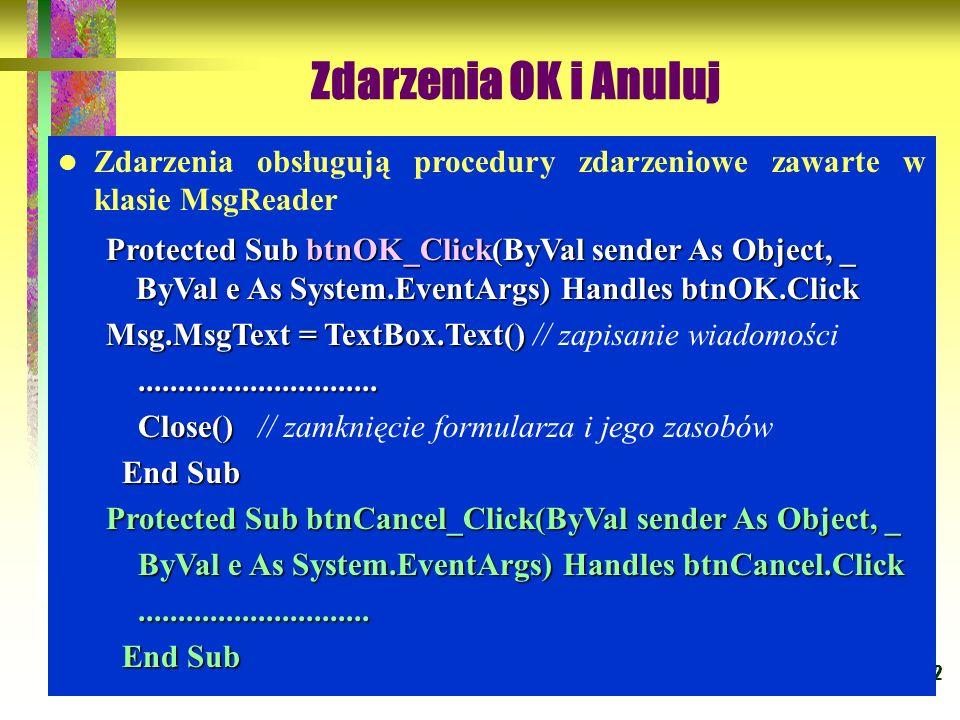 42 Zdarzenia OK i Anuluj Zdarzenia obsługują procedury zdarzeniowe zawarte w klasie MsgReader Protected Sub btnOK_Click(ByVal sender As Object, _ ByVa