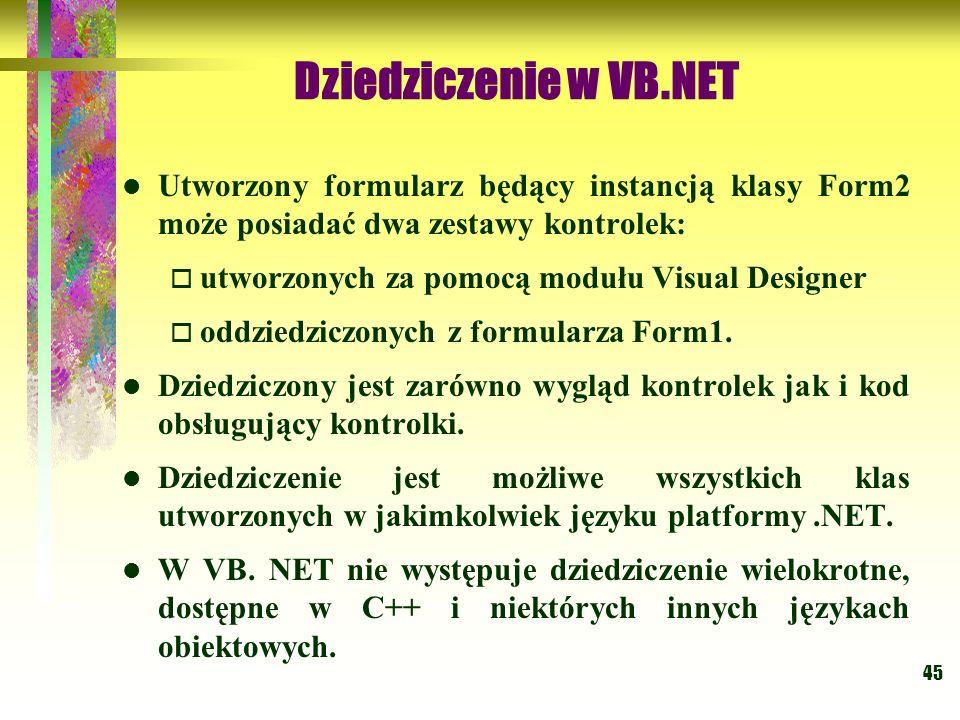 45 Dziedziczenie w VB.NET Utworzony formularz będący instancją klasy Form2 może posiadać dwa zestawy kontrolek: utworzonych za pomocą modułu Visual De