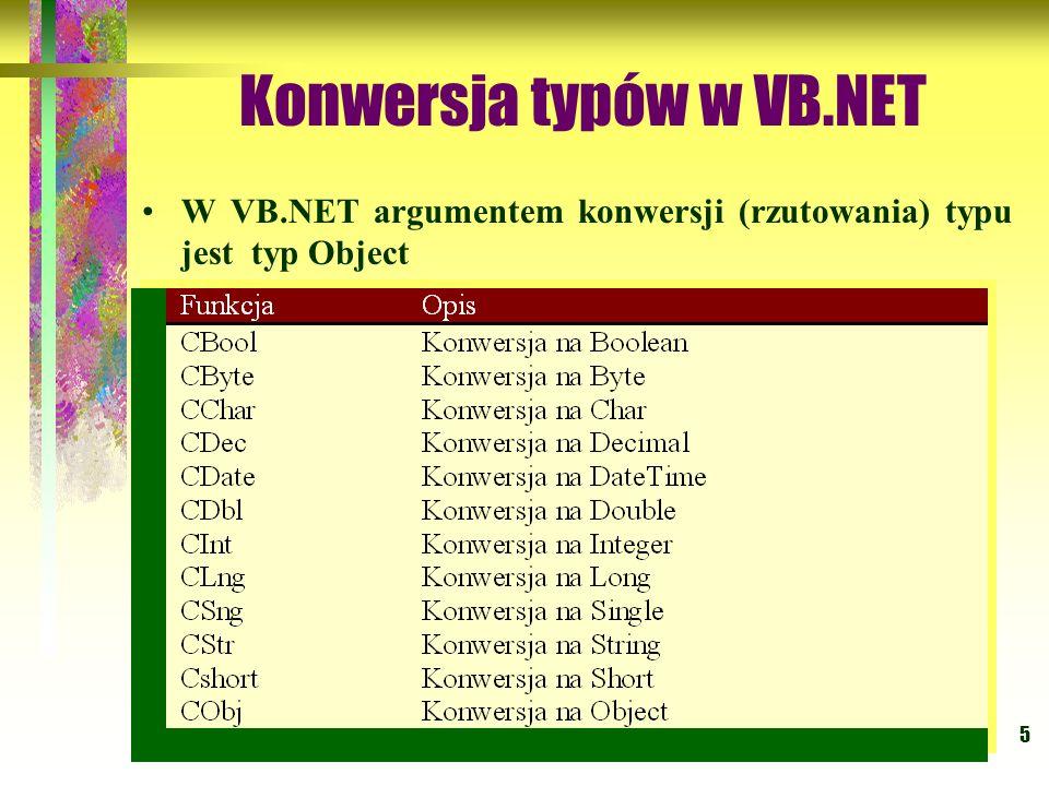 5 Konwersja typów w VB.NET W VB.NET argumentem konwersji (rzutowania) typu jest typ Object