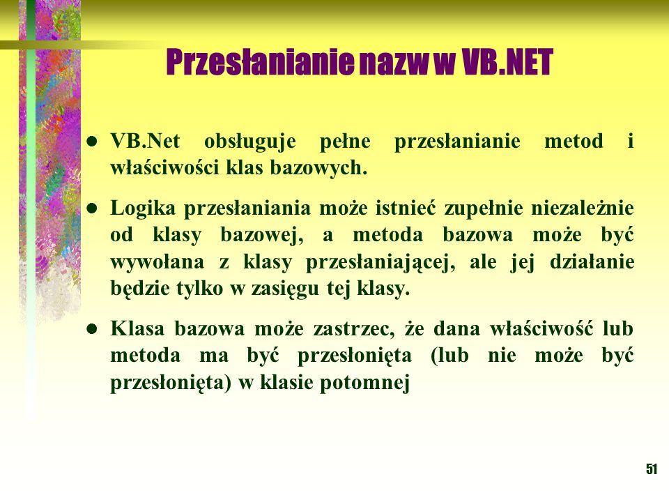 51 Przesłanianie nazw w VB.NET VB.Net obsługuje pełne przesłanianie metod i właściwości klas bazowych. Logika przesłaniania może istnieć zupełnie niez