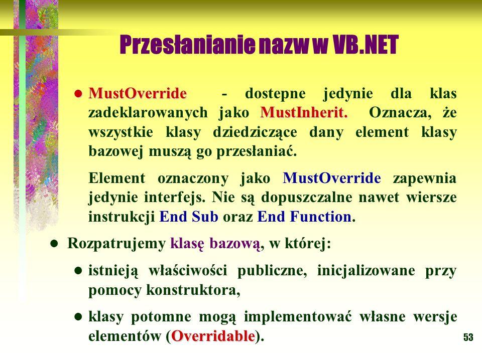 53 Przesłanianie nazw w VB.NET MustOverride MustInherit. MustOverride - dostepne jedynie dla klas zadeklarowanych jako MustInherit. Oznacza, że wszyst