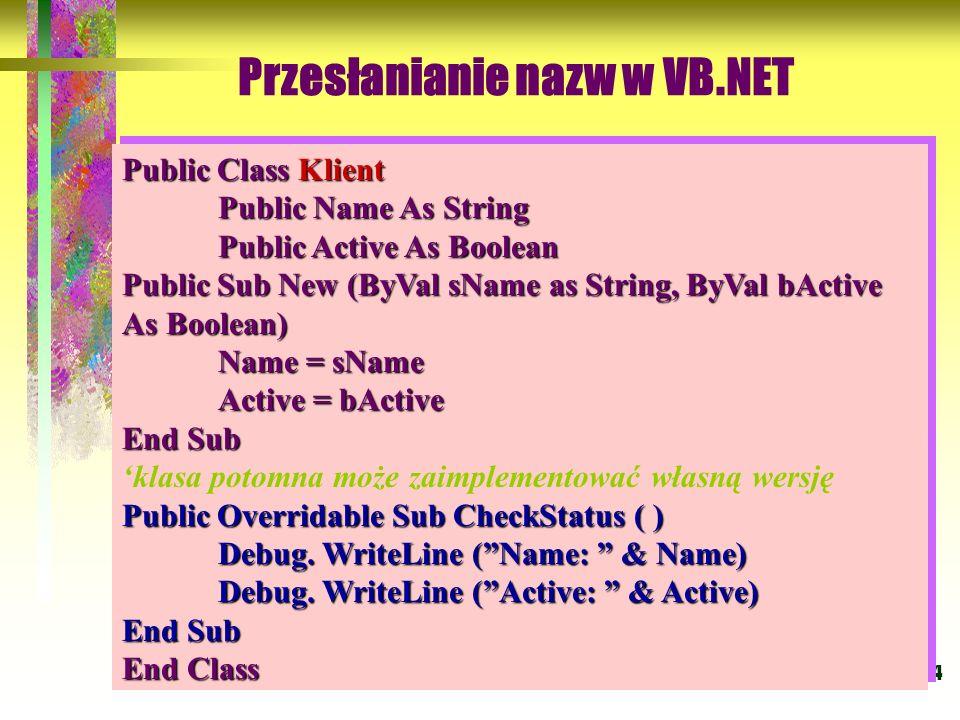 54 Przesłanianie nazw w VB.NET Domyślny konstruktor ma postać: Public Class Klient Public Name As String Public Active As Boolean Public Sub New (ByVa