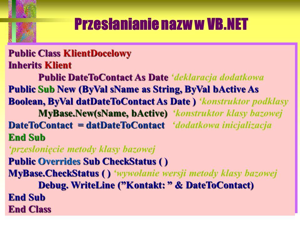 56 Przesłanianie nazw w VB.NET Domyślny konstruktor ma postać: Public Class KlientDocelowy Inherits Klient Public DateToContact As Date Public DateToC