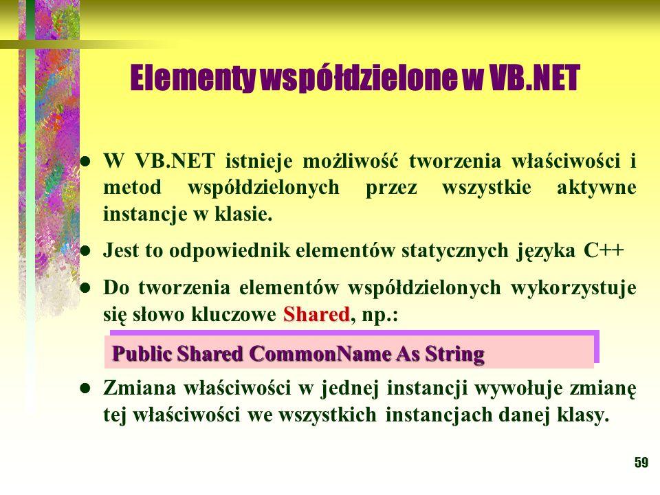 59 Elementy współdzielone w VB.NET W VB.NET istnieje możliwość tworzenia właściwości i metod współdzielonych przez wszystkie aktywne instancje w klasi
