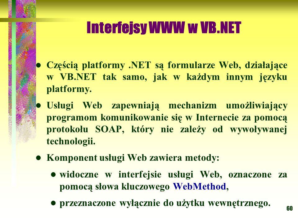 60 Interfejsy WWW w VB.NET Częścią platformy.NET są formularze Web, działające w VB.NET tak samo, jak w każdym innym języku platformy. Usługi Web zape