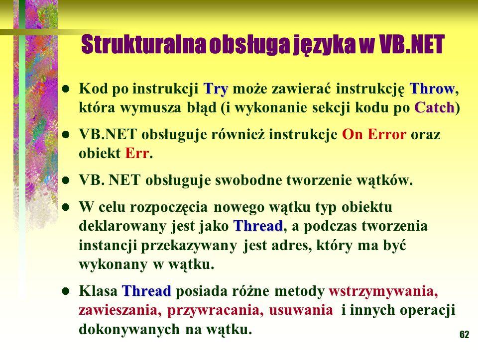 62 Strukturalna obsługa języka w VB.NET TryThrow Catch Kod po instrukcji Try może zawierać instrukcję Throw, która wymusza błąd (i wykonanie sekcji ko