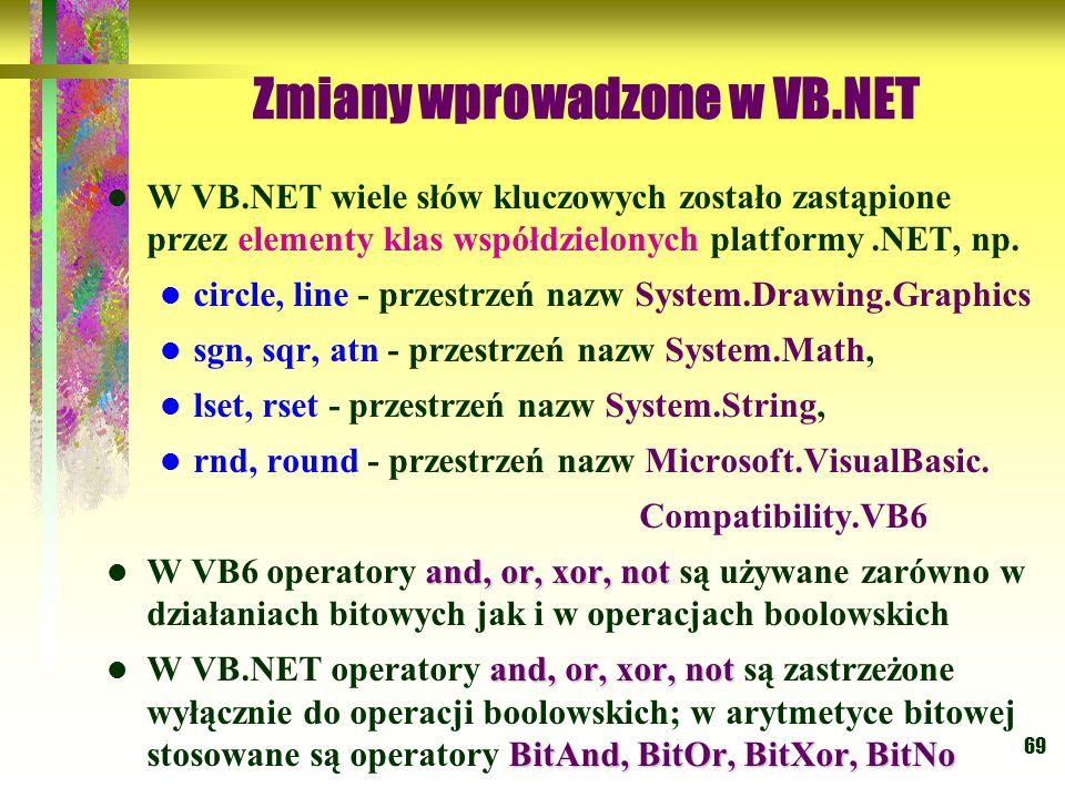 69 Zmiany wprowadzone w VB.NET W VB.NET wiele słów kluczowych zostało zastąpione przez elementy klas współdzielonych platformy.NET, np. circle, line -