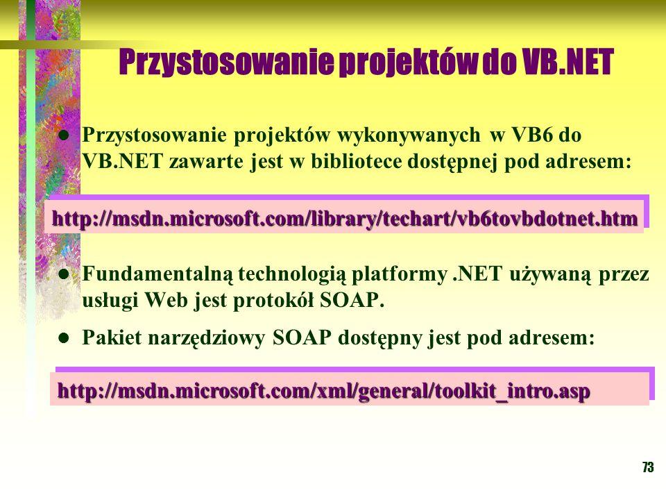 73 Przystosowanie projektów do VB.NET Przystosowanie projektów wykonywanych w VB6 do VB.NET zawarte jest w bibliotece dostępnej pod adresem: Fundament