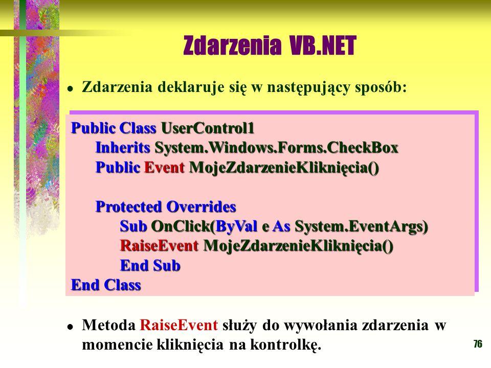 76 Zdarzenia VB.NET Zdarzenia deklaruje się w następujący sposób: Metoda RaiseEvent służy do wywołania zdarzenia w momencie kliknięcia na kontrolkę. P
