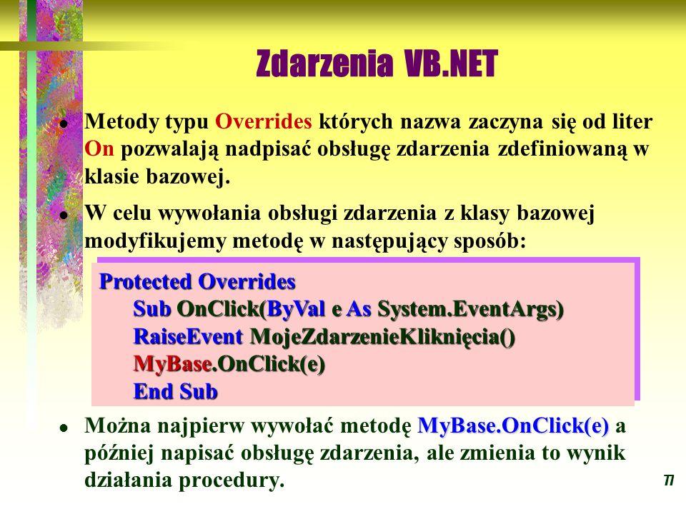 77 Zdarzenia VB.NET Metody typu Overrides których nazwa zaczyna się od liter On pozwalają nadpisać obsługę zdarzenia zdefiniowaną w klasie bazowej. W