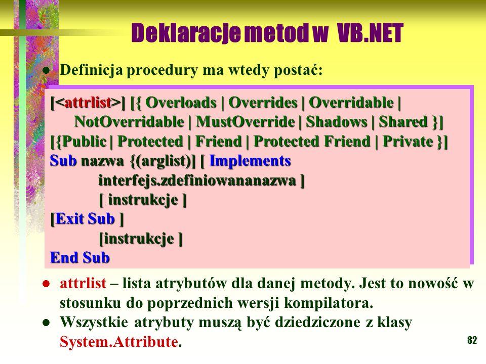 82 Deklaracje metod w VB.NET Definicja procedury ma wtedy postać: attrlist – lista atrybutów dla danej metody. Jest to nowość w stosunku do poprzednic