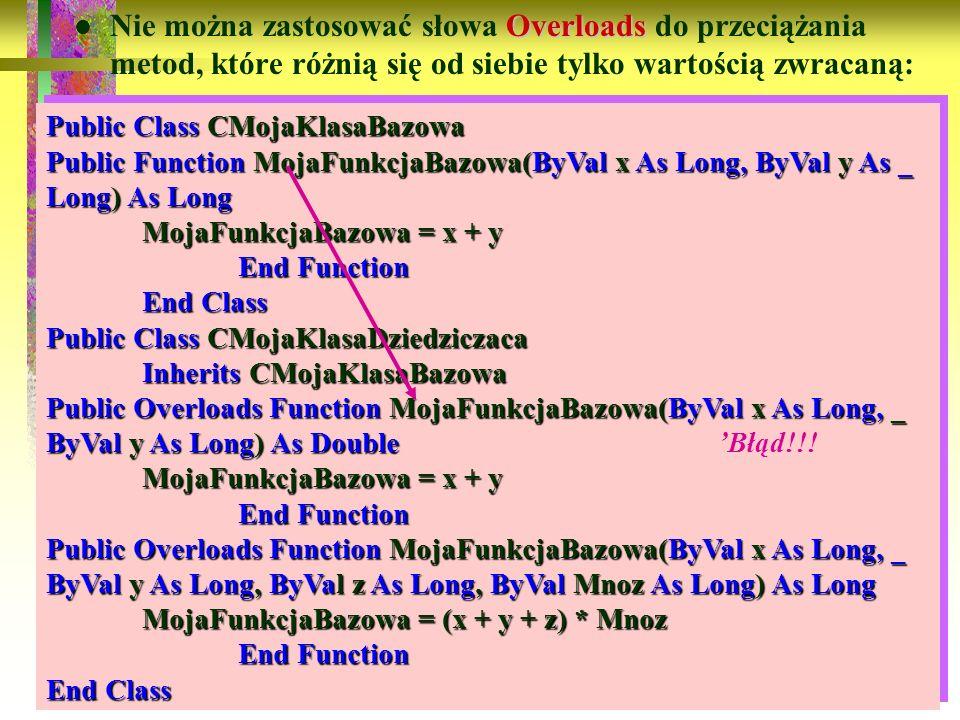 85 Overloads Nie można zastosować słowa Overloads do przeciążania metod, które różnią się od siebie tylko wartością zwracaną: Public Class CMojaKlasaB