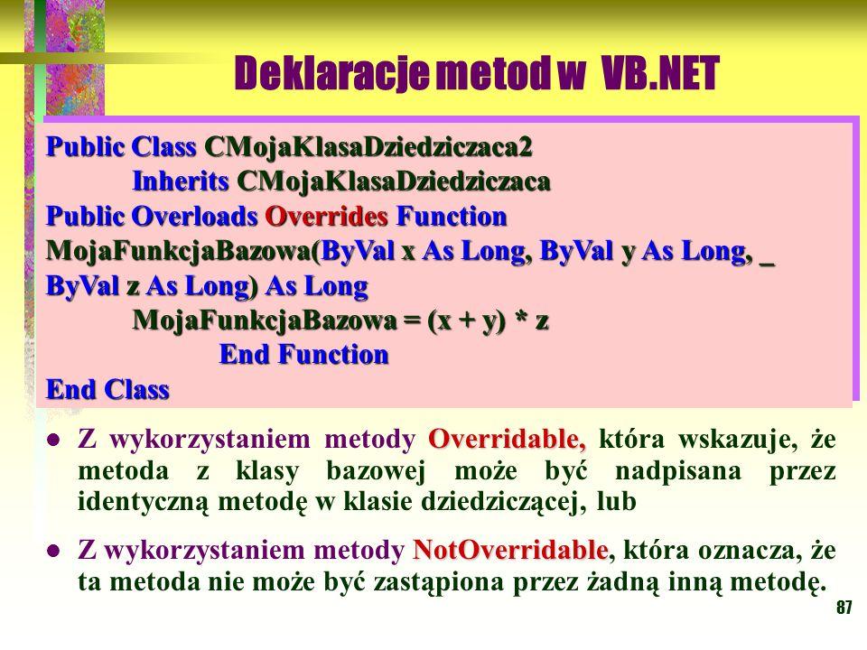 87 Overridable, Z wykorzystaniem metody Overridable, która wskazuje, że metoda z klasy bazowej może być nadpisana przez identyczną metodę w klasie dzi
