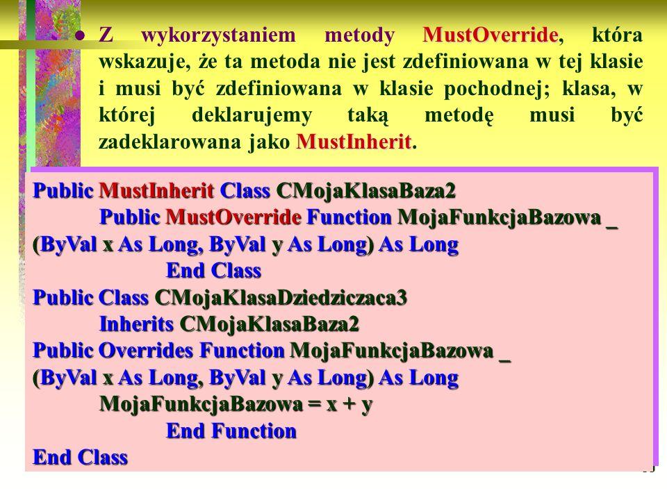 89 MustOverride MustInherit Z wykorzystaniem metody MustOverride, która wskazuje, że ta metoda nie jest zdefiniowana w tej klasie i musi być zdefiniow