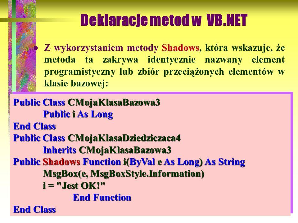 90 Shadows Z wykorzystaniem metody Shadows, która wskazuje, że metoda ta zakrywa identycznie nazwany element programistyczny lub zbiór przeciążonych e