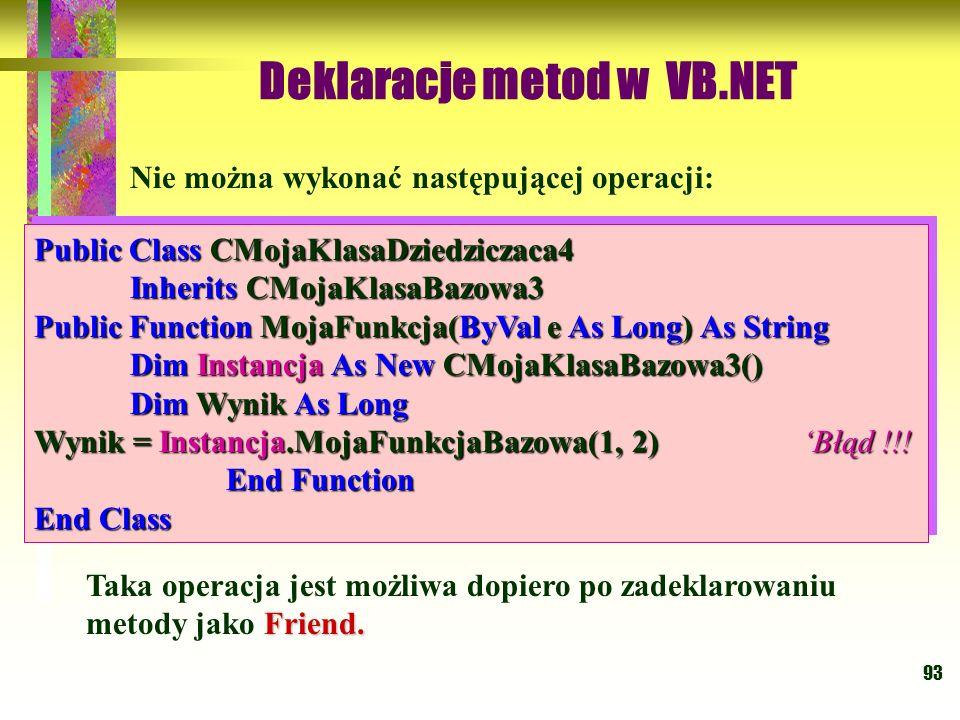 93 Nie można wykonać następującej operacji: Public Class CMojaKlasaDziedziczaca4 Inherits CMojaKlasaBazowa3 Public Function MojaFunkcja(ByVal e As Lon