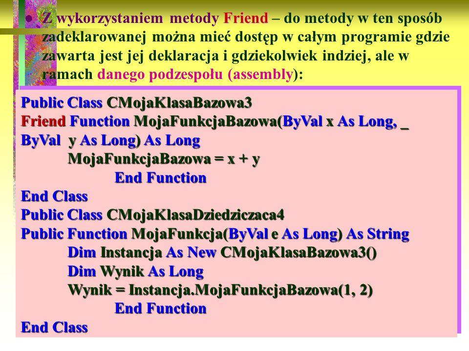 94 Friend Z wykorzystaniem metody Friend – do metody w ten sposób zadeklarowanej można mieć dostęp w całym programie gdzie zawarta jest jej deklaracja
