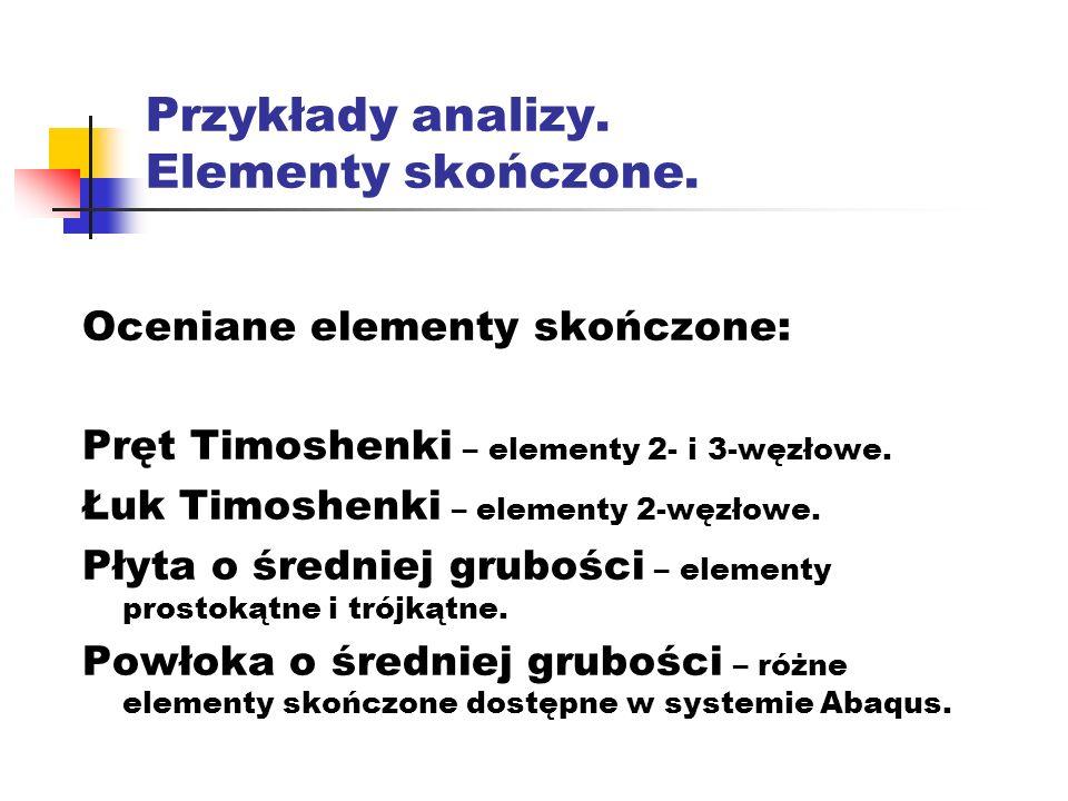 Przykłady analizy. Elementy skończone.