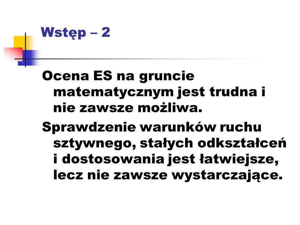 Wstęp – 2 Ocena ES na gruncie matematycznym jest trudna i nie zawsze możliwa.