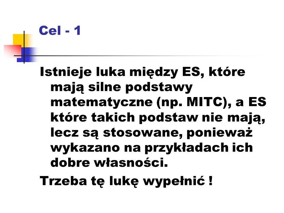 Cel - 1 Istnieje luka między ES, które mają silne podstawy matematyczne (np.