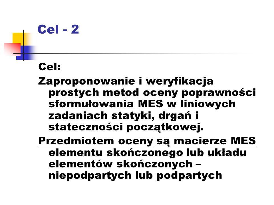 Cel - 2 Cel: Zaproponowanie i weryfikacja prostych metod oceny poprawności sformułowania MES w liniowych zadaniach statyki, drgań i stateczności początkowej.