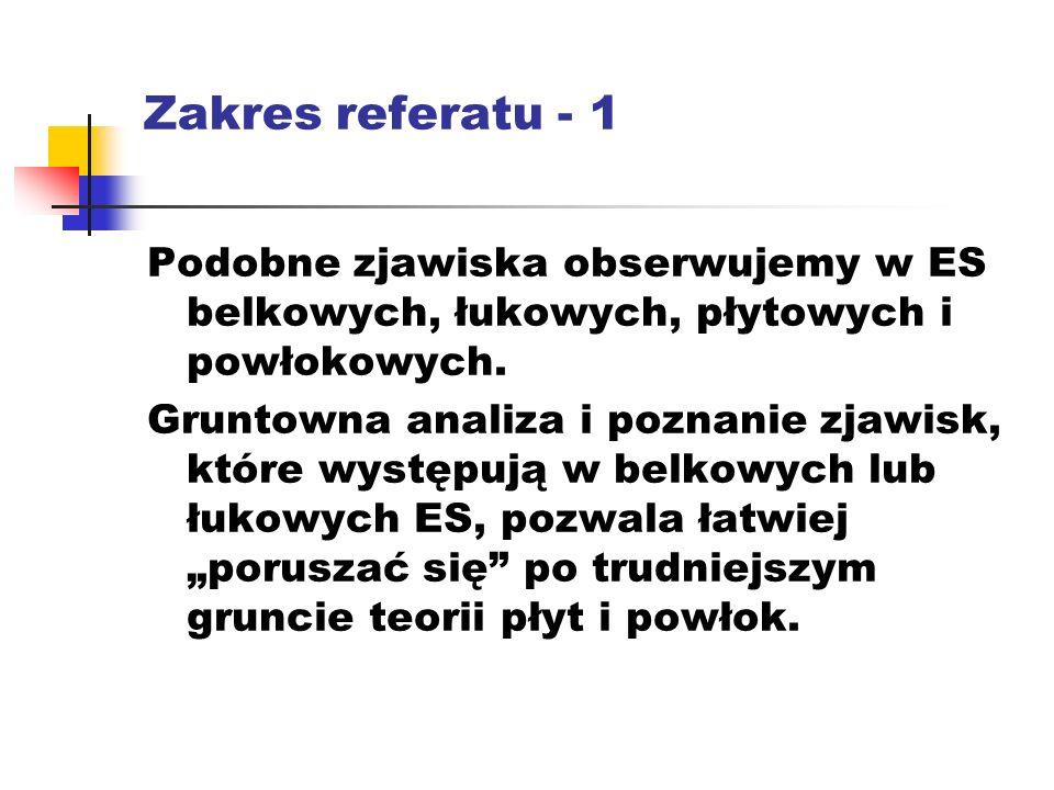 Zakres referatu - 1 Podobne zjawiska obserwujemy w ES belkowych, łukowych, płytowych i powłokowych.