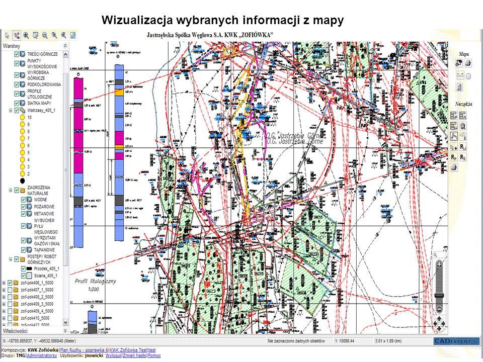 Wizualizacja wybranych informacji z mapy