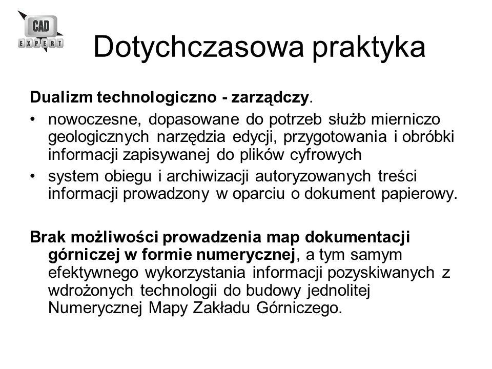 Dotychczasowa praktyka Dualizm technologiczno - zarządczy. nowoczesne, dopasowane do potrzeb służb mierniczo geologicznych narzędzia edycji, przygotow