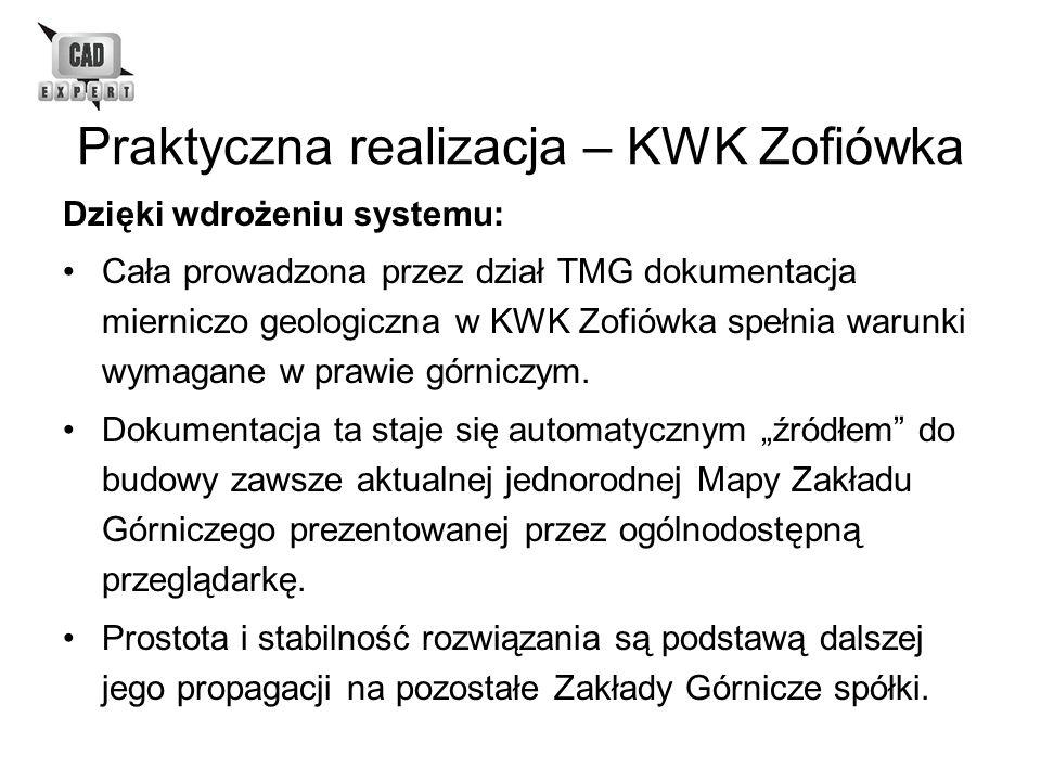 Praktyczna realizacja – KWK Zofiówka Dzięki wdrożeniu systemu: Cała prowadzona przez dział TMG dokumentacja mierniczo geologiczna w KWK Zofiówka spełn