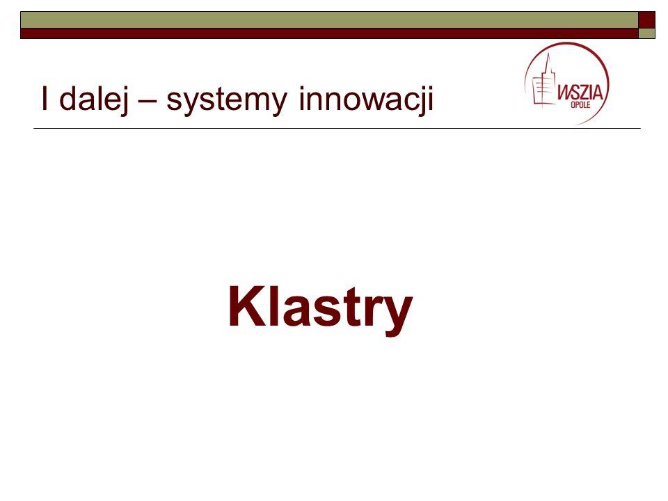 I dalej – systemy innowacji Klastry