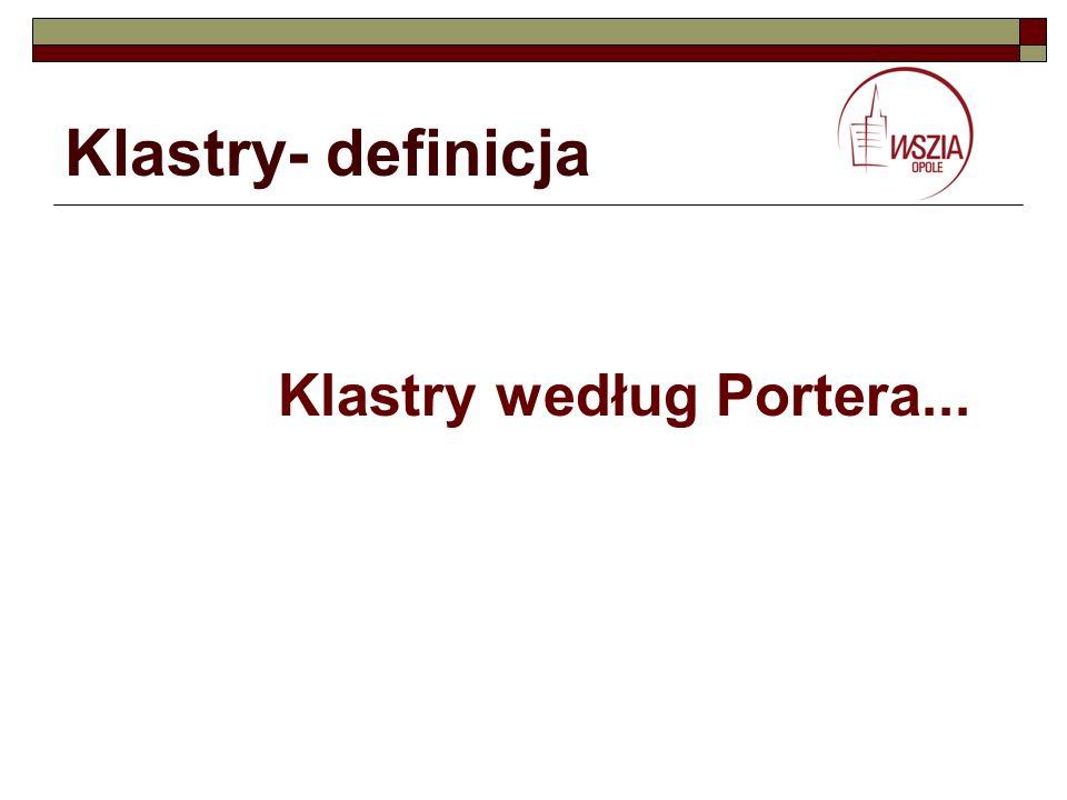 Klastry- definicja Klastry według Portera...
