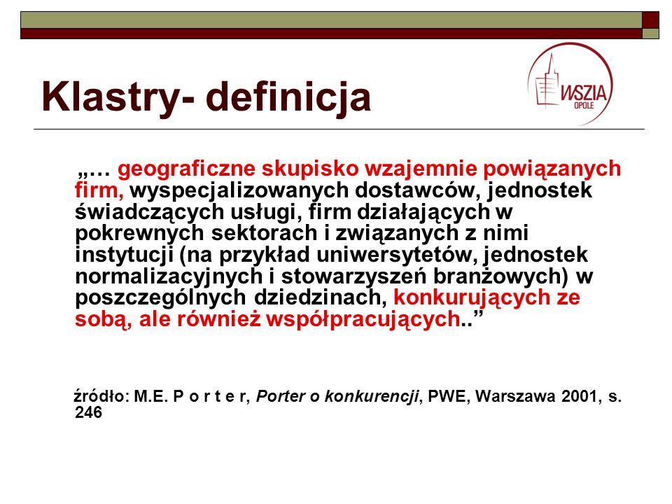 Klastry- definicja … geograficzne skupisko wzajemnie powiązanych firm, wyspecjalizowanych dostawców, jednostek świadczących usługi, firm działających