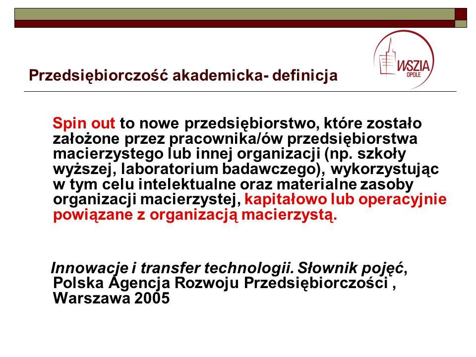 Przedsiębiorczość akademicka- definicja Spin out to nowe przedsiębiorstwo, które zostało założone przez pracownika/ów przedsiębiorstwa macierzystego l