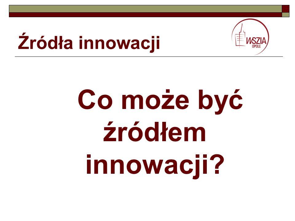 Źródła innowacji Co może być źródłem innowacji?